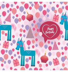 Funny unicorn happy birthday seamless pattern vector