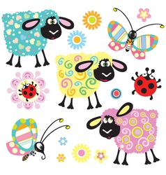 Set with decorative sheep vector