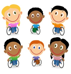 Wheelchair children character pack vector