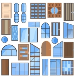 Set isolated doors windows glass vector