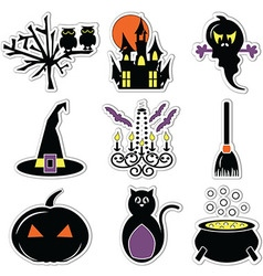 2 halloween icons set in colour label vector