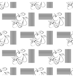 Apples and pears seamless pattern contour icons vector
