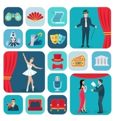 Theater icons flat set vector