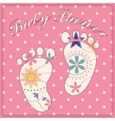 Background baby shower girl vintage vector