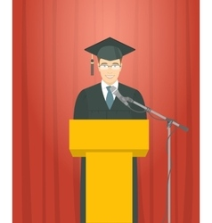 Graduation ceremony speech by a man graduate at vector