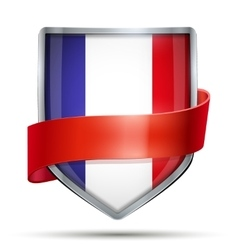 Shield with flag france and ribbon vector