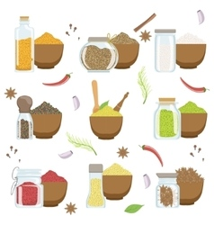 Spices in a bowl and glass container set vector