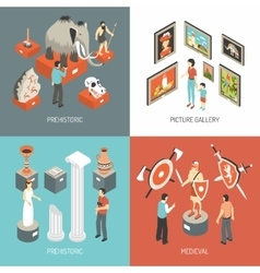Art museum 4 isometric icons square vector