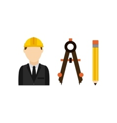 architect with tools isolated icon design vector image