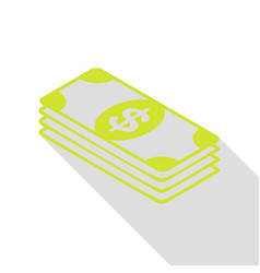Bank note dollar sign pear icon with flat style vector