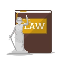 Book and statue of law and justice design vector