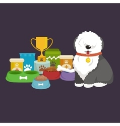 cartoon Old English Sheepdog with vector image