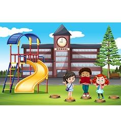 Children standing in front of school vector image vector image
