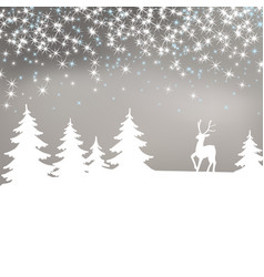 christmas background winter landscape with deer vector image
