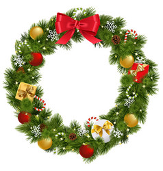 christmas wreath with garland vector image vector image