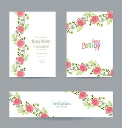 collection invitation cards with chrysanthemums vector image vector image