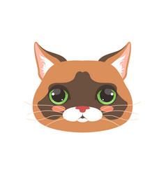 Cute cat head cartoon animal character vector