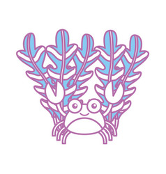 Cute crab with seaweed sealife character vector