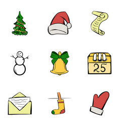 December icons set cartoon style vector