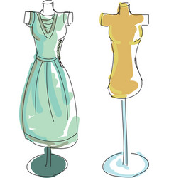 Drawn colored dress form vector