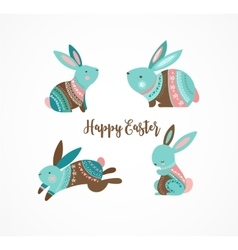 Easter cute patterned bunny vector image vector image
