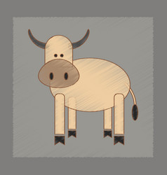 Flat shading style icon kids cow vector
