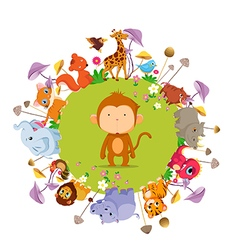 Funny animals on the ground round background vector