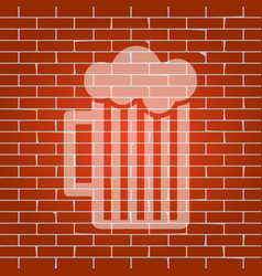 Glass of beer sign whitish icon on brick vector