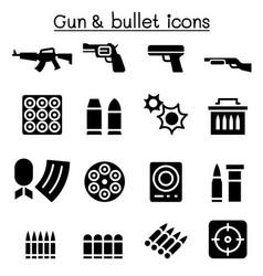 Gun bullet icon set vector
