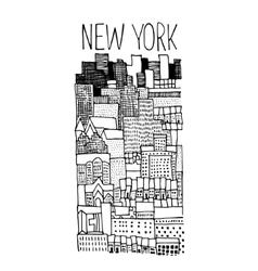 Hand drawn of new york panoramic vector