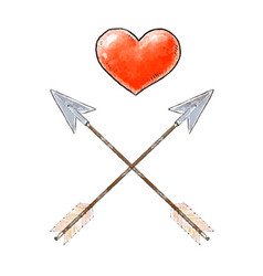 hand drawn red heart and vintage arrows design vector image vector image