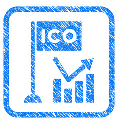 Ico trend chart framed stamp vector
