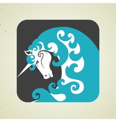 Icon of magic mythical unicorn with a horn vector image