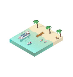 Isometric coastal line composition vector