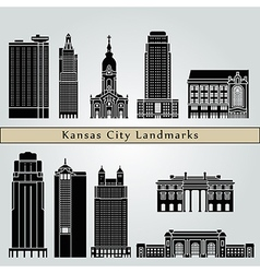 Kansas city landmarks and monuments vector