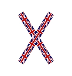 Letter X made from United Kingdom flags vector image vector image