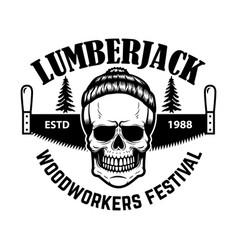 Lumberjack emblem skull with hand saw design vector