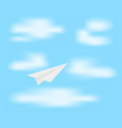 Paper plane on blue sky vector