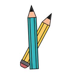 Pencils icon over vector