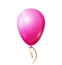 Realistic pink balloon with ribbon isolated on vector