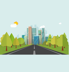 road way to city buildings on horizon vector image