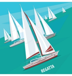 Sailing regatta with lots of boats vector image vector image