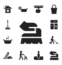 Set of 12 editable cleaning icons includes vector