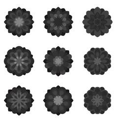 Set of black flowers vector