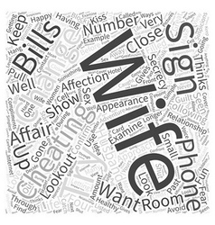 Signs of a cheating wife word cloud concept vector