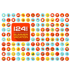 summer icon set summertime vacation vector image