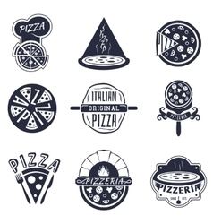 Vintage pizzeria labels logos and emblems vector image
