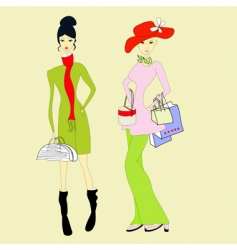 women with shopping bag vector image