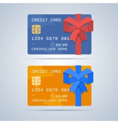 Wrapped gift credit card with ribbon in flat style vector