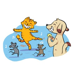 Dancing pet animals vector